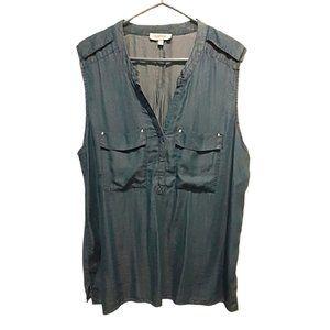 My Style Faux-Denim Sleeveless Blouse NWOT XL